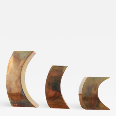 Monique Gerber Three solid bronze candle holders by Monique Gerber France 1970s