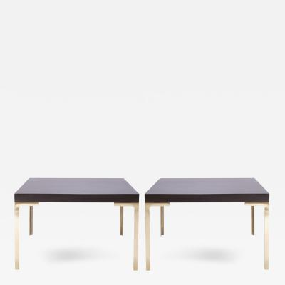 Montage Astor Brass Occasional Tables in Walnut Pair