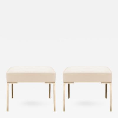 Montage Astor Brass Ottomans in Bone Luxe Suede by Montage Pair
