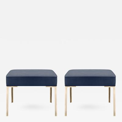 Montage Astor Brass Ottomans in Midnight Luxe Suede by Montage Pair