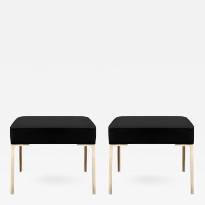 Montage Astor Brass Ottomans in Noir Luxe Suede by Montage Pair