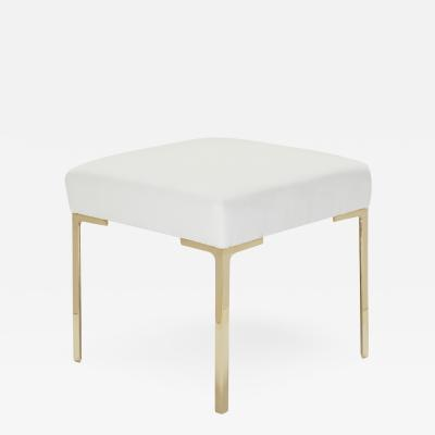 Montage Astor Petite Brass Ottoman in Snow Velvet by Montage