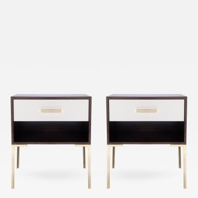 Montage Astor Tall Brass Nightstands in Ebony and Ivory Walnut by Montage