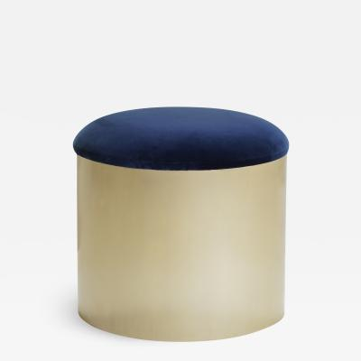 Montage Brushed Brass Mushroom Pouf in Velvet by Montage