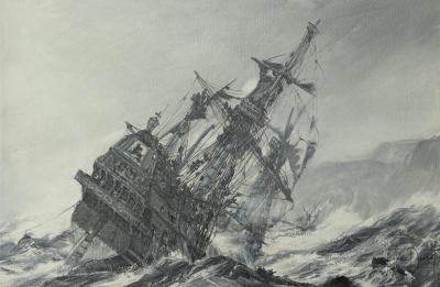 Montague Dawson A Galleon in Distress by Montague Dawson