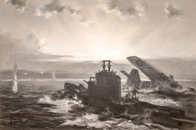 Montague Dawson British Submarine H M S SEALION Rescues a P 51 Mustang Pilot