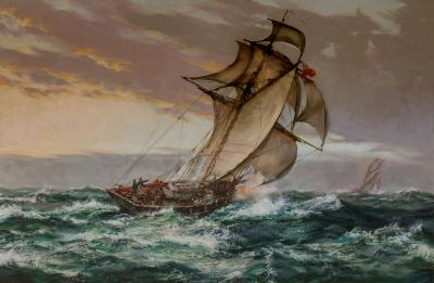 Montague Dawson Dawn Suspect Revenue Cutter KITE Chasing a Smuggler