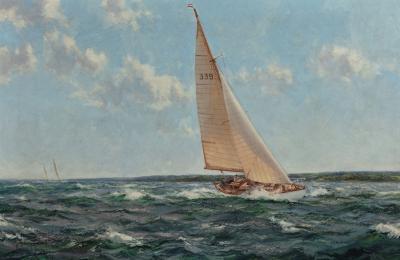Montague Dawson Down Solent showing Cohoe the 1950 Transatlantic Race