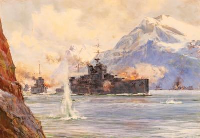 Montague Dawson H M S WARSPITE at the Second Battle of Narvik WWII