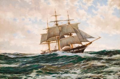 Montague Dawson Ship J N Cushing of Newburyport