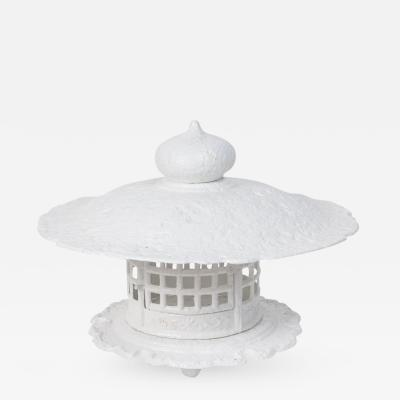 Monumental 1960s Cast Iron Pagoda in White Lacquer
