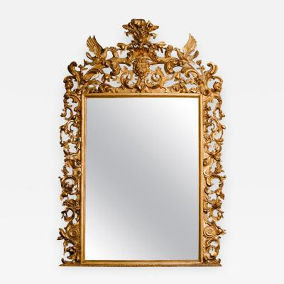 Monumental 19th Century Water and Parcel Gilt Italian Mirror