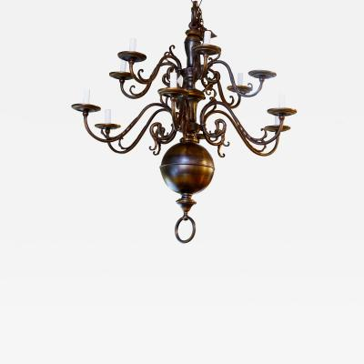 Monumental Bronze Two Tier Chandelier with Twelve Arms