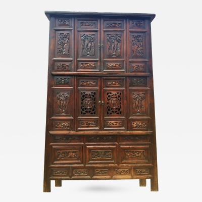 Monumental Chinese Antique Cabinet 95 Tall Fully Carved