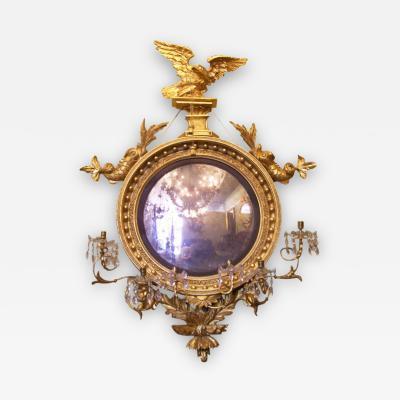 Monumental Early 19th C Gilded Convex Eagle Girandole Mirror