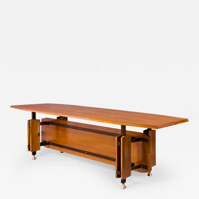 Monumental Fruitwood Dining Table Italy 1950s