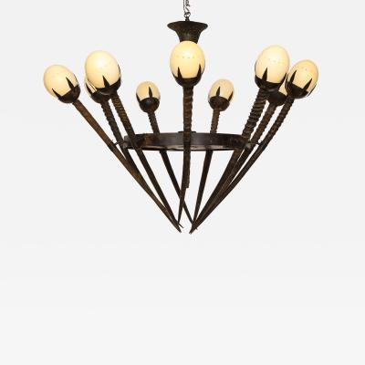 Monumental Hand Crafted Ostrich Egg Horn Chandelier