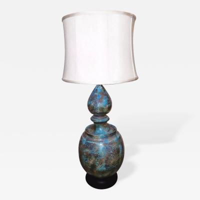 Monumental Italian Blue Glazed Pottery Lamp