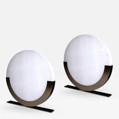 Monumental Italian Design Pair of White and Chrome Round Floor or Table Lamps
