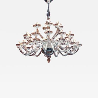 Monumental Italian Triple Tier 30 Arm Clear Murano Venetian Glass Chandelier
