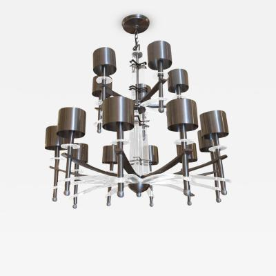 Monumental Mid Century Chandelier in Lucite and Brushed Steel