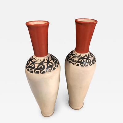 Monumental Moroccan Pottery Vase or Urn Handmade in Red and White a Pair