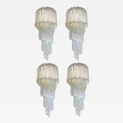 Monumental Murano Glass Quadriedro Wall Sconces