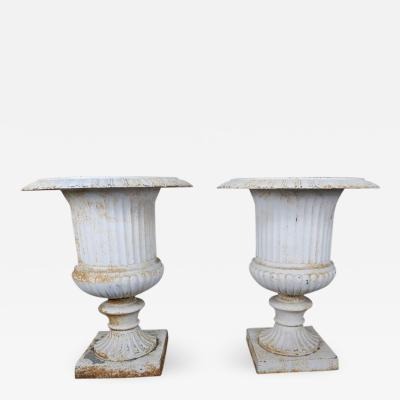 Monumental Painted Cast Iron Planters Pair