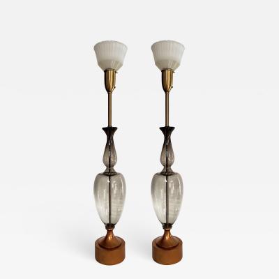 Monumental Pair Of Italian Grey Glass Lamps