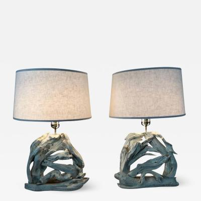 Monumental Pair of Driftwood Lamps
