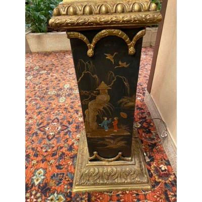 Monumental Pair of French Gilt Bronze and Chinoiserie Painted Torcheres