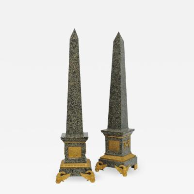 Monumental Pair of Italian Grand Tour Ormolu Mounted Green Granite Obelisks