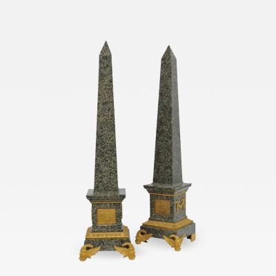 Monumental Pair of Italian Grand Tour Ormolu Mounted Green Granite Obelisks