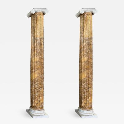 Monumental Pair of Italian Neoclassical Doric Marble Columns