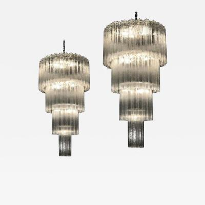 Monumental Pair of Italian Tronchi Chandeliers Murano 1980s