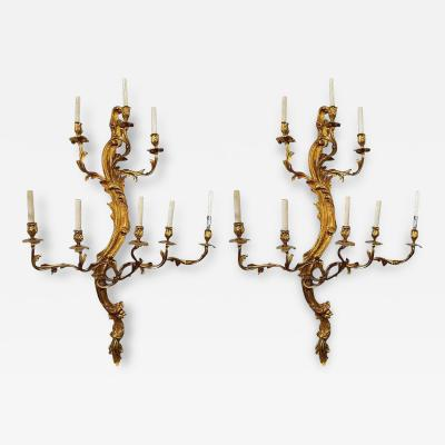 Monumental Pair of Louis XV Style Bronze Eight Arm Sconces