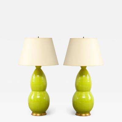 Monumental Pair of Mid Century Ceramic Double Gourd Lamps