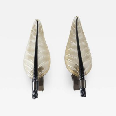 Monumental Pair of Murano Gold Black Leaf Wall Lights UL Certified