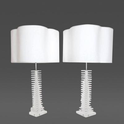 Monumental Pair of Stacked Lucite Skyscraper Lamps