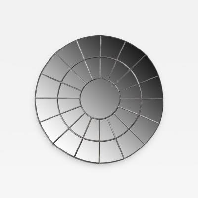 Monumental Round Gilt Cast Iron Mirror