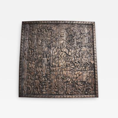 Monumental Southeast Asian Teakwood Figurative Panel of Buddha