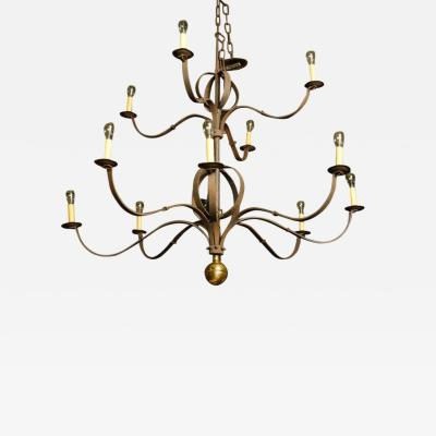 Monumental Two Tier Forged Iron Tuscarawas Chandelier