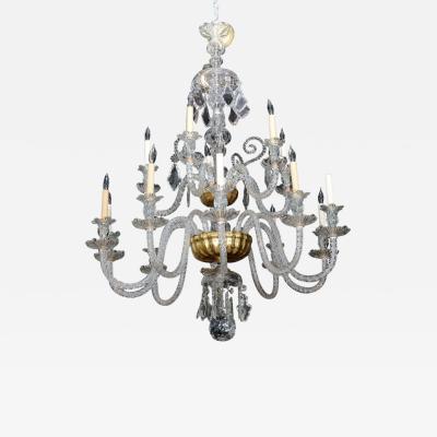 Monumental Venetian Glass Eighteen Light Chandelier 1920s