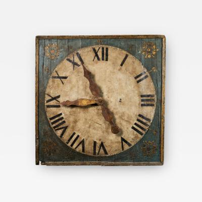 Monumental early 19th C Clock on a Polychromed panel