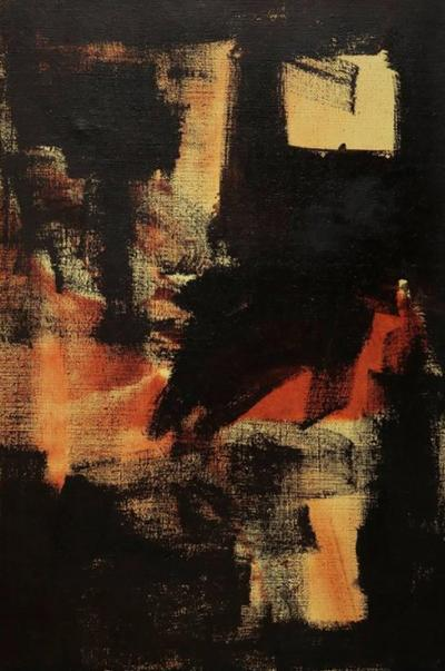 Moody Expressionist Oil Painting in Orange Yellow and Black