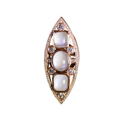 Moonstone Diamond and Rose Gold Navette Ring