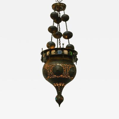 Moorish Brass Light Fixture Chandelier with Glass Panels