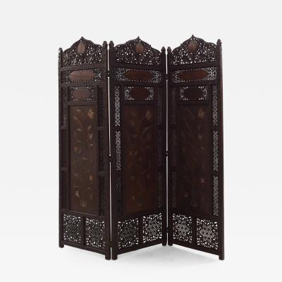 Moorish Carved Teak 3 Fold Screen