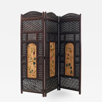 Moorish Carved Teak 3 Fold Screen
