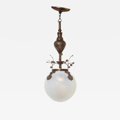 Moorish Style Brass Mounted Ceiling Light